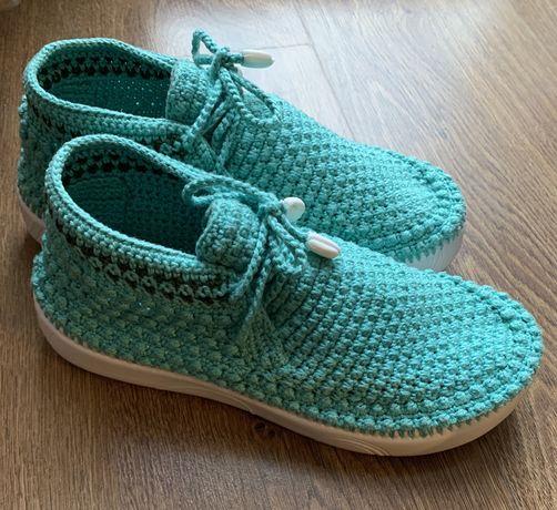 Buty ręcznie wykonane z wełny rękodzieło r.38 miętowe