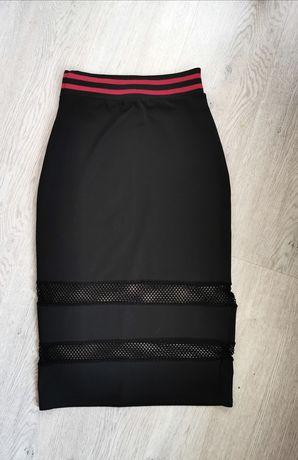Czarna spódnica ołowkowa wysoki stan Boho. siateczka 36