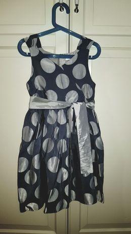 Sukienka Jasper Conran 134 9święta elegancka kropki srebrne pastelowa