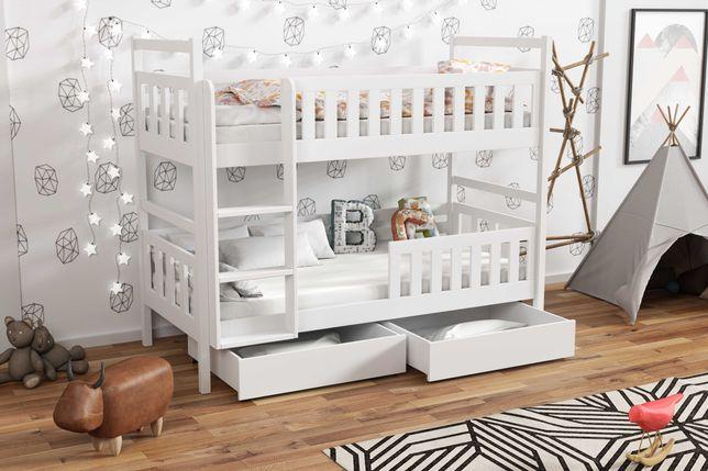 Sosnowe piętrowe łóżko dla 2 dzieci 190x80 - materace w zestawie!