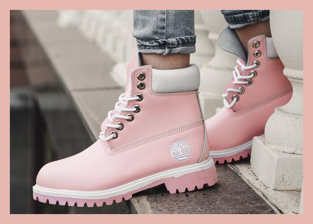 Кожа! Женские ботинки Timberland Premium ( Тимберленд розовые осенние)