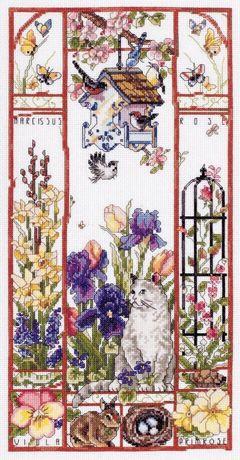 схема для вышивания Janlynn Сэмплер Spring Cat Sampler Весенний кот