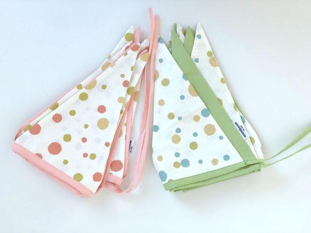 Гирлянда из флажков текстильная сатин для декора детской комнаты