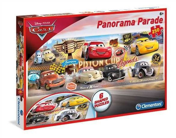 Clementoni, Auta, puzzle panoramiczne, 250 elementów