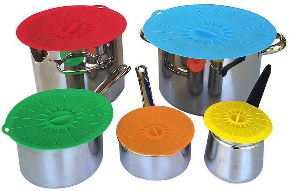 Tampas de silicone de sucção para Panelas e Recipientes 5 Tamanhos