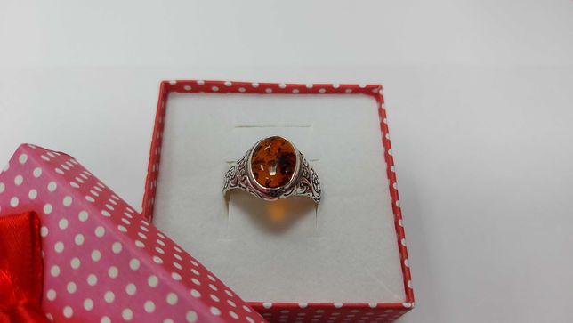 Piękny srebrny pierścionek z bursztynem ! R.24