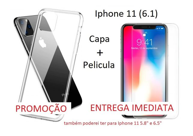"Capa Iphone 11 5.8 6.1 e 6.5"" com pelicula"