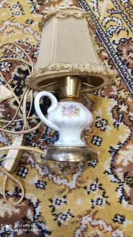 Stara lampka mosiezno  porcelanowa