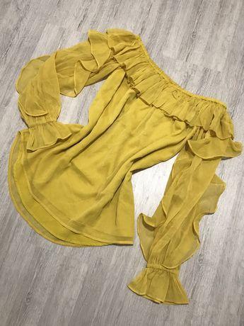 Żółta bluzka S 36 River Island hiszpanka odkryte ramiona falbany bufia