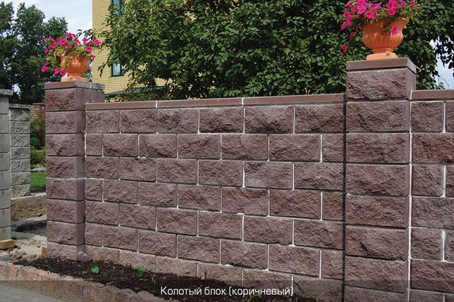Декоративные блоки на забор 400х200х200 мм, и другие размеры
