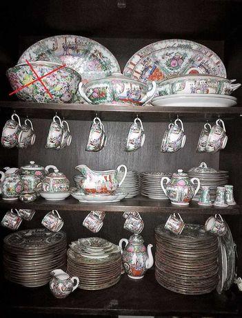 Serviço de loiça chinês, porcelana, Rose Medallion, Macau