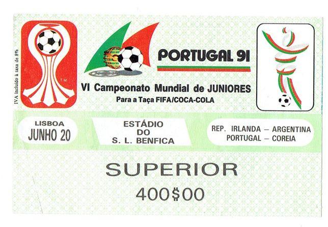 Bilhete Portugal - Mundial de Juniores 1991