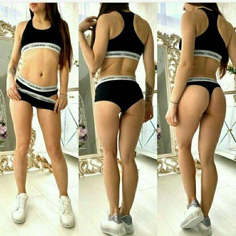 СКИДКА! Женский комплект белья Calvin Klein 3 в 1 топ+стринги+ шортики