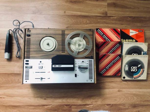 Magnetofon szpulowy UNITRA ZRK ZK-147 mikrofon płyty