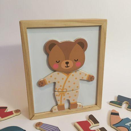 Одень мишку Деревянные Магнитные пазлы для развития