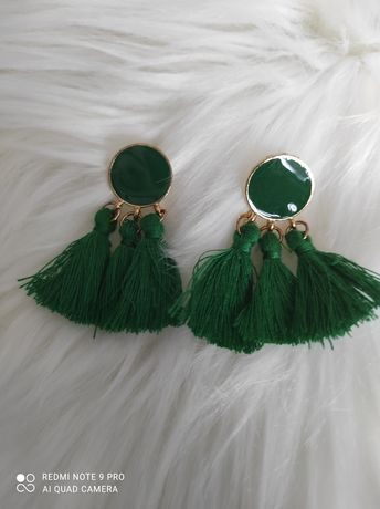 Brincos franja verdes