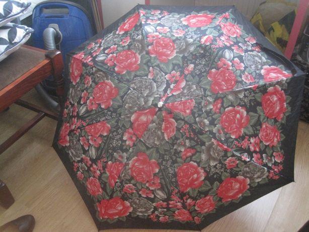 parasolka PRL składana zepsuty automatyk kwiaty