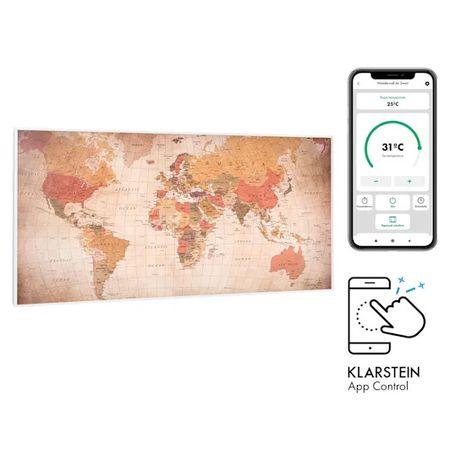 Grzejnik na Podczerwień. Klarstein. Motyw - Mapa Świata