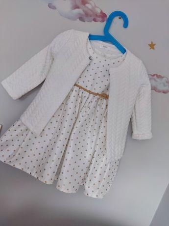 Sukienka ecru chrzest święta kropki 80 elegancka + sweterek ecru 74/80