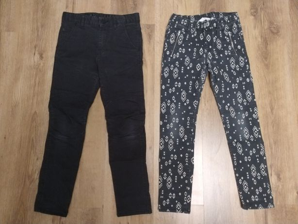 Spodnie h&m rozmiar 134 czarne, we wzorki