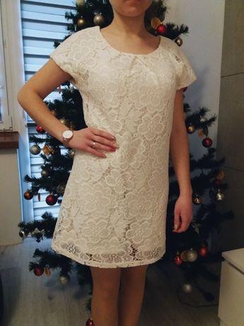 PERKINS NOWA nieużywana koronkowa sukienka 36 / S, 34 biała ecru ekri