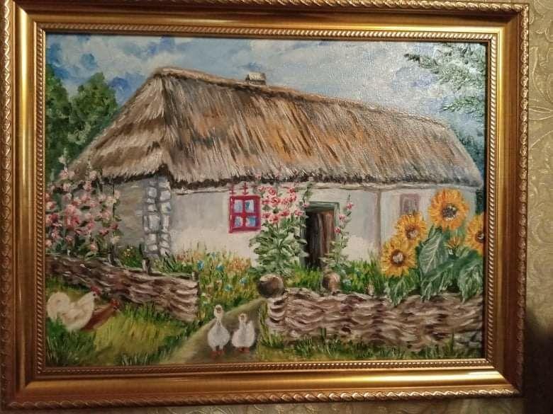 """Картина """"Дом"""", размер 40*30, холст, масло, имеется багет Мена - изображение 1"""
