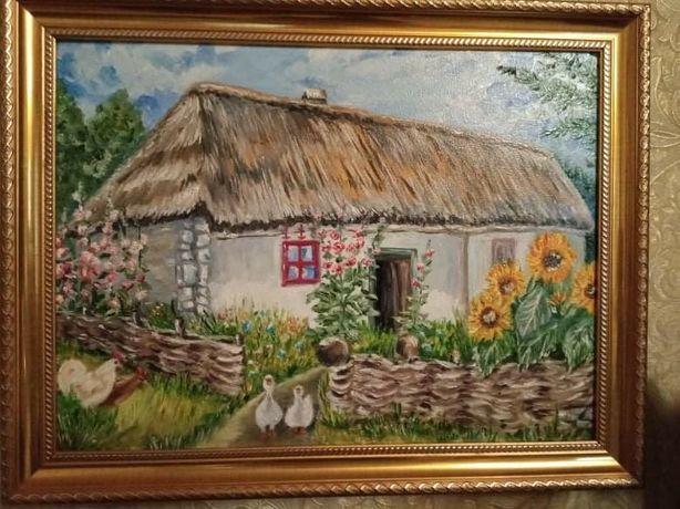 "Картина ""Дом"", размер 40*30, холст, масло, имеется багет"