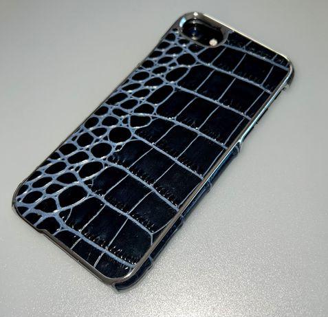 Capa iPhone 7, pele genuína de vaca (Preta e Azul Marinho), NOVA