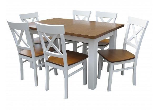 Zestaw prowansalski 4 krzesła Krzyż + stół rozkładany 120 biały dąb