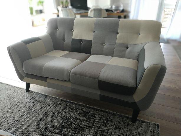 Sofa dwuosobowa Patchwork Grey Mix Loft zadbana szara ecru