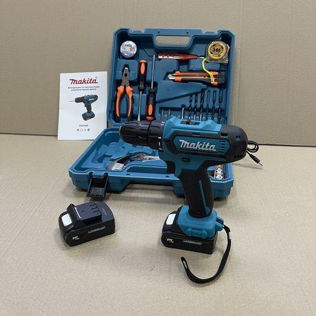 Дрель-шуруповерт Makita 550 24В с набором инструментов в кейсе Макита