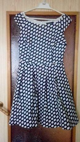 Elegancka sukienka 38 40 groszki tiul kontrafałdy wesele, sylwester