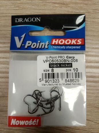 Haczyki wędkarskie roz. 8 - 50 szt Dragon V-point PRO Carp