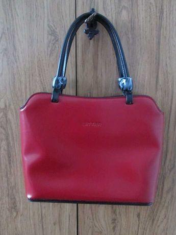 Wittier vintage retro torebka torba czerwona czarna skóra lakierowana