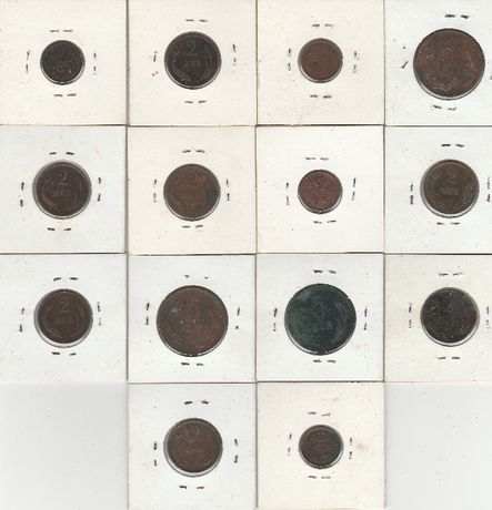 Lote de 14 moedas DINAMARCA
