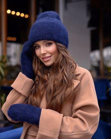 Шапка-шарф, теплый зимний комплект, теплая шапка