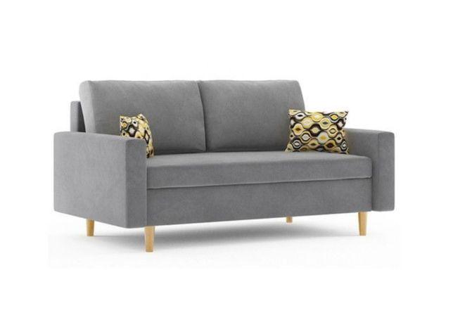 Szara kanapa w stylu skandynawskim