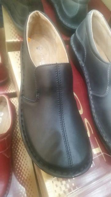 Nowe buty skórzane SOST wsuwane -kolor czarny