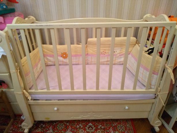 Кроватка комод детский комплект Принцесса Ксения слоновая кость