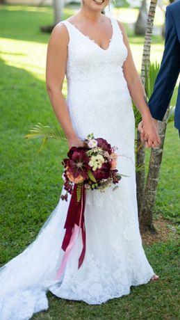 Suknia ślub biała rybka tren koronkowa boho odkryte plecy rozmiar 38