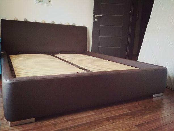 Łóżko 160*200, ze stelażem, wenge, Eco skóra
