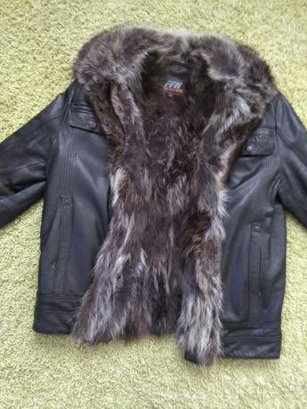 Теплая кожаная куртка на меху