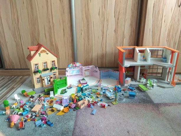 Sprzedam duży zestaw playmobil dom,  centrum handlowe, szpital +gratis