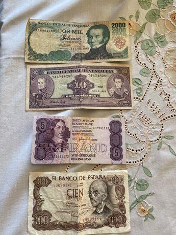 4 notas coleção, 100 pesetas, 5 rands, 10 bolívares 2000 bolívares