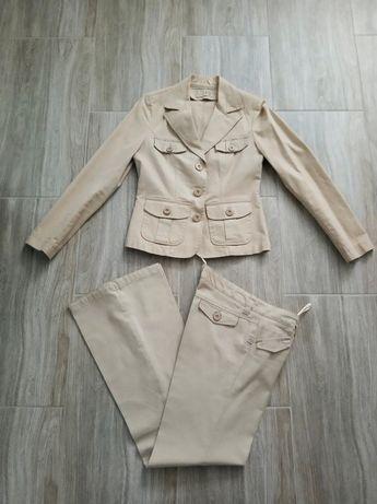 Beżowy garnitur szerokie spodnie 36 S vintage retro jak Burberry