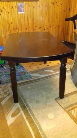 Duży stół do jadalni-drewniany plus 6 krzeseł wym. 180x90 i 230x90
