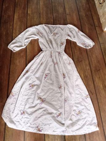 Długa biała sukienka na przebranie strój kostium retro m