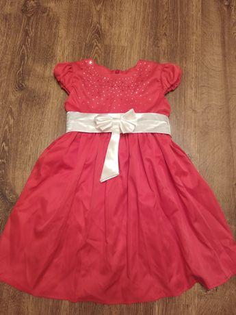 Нарядное платье на 4-5 лет праздничное алое  стразы