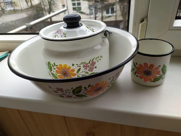 Посуда эмалированная из набора новая