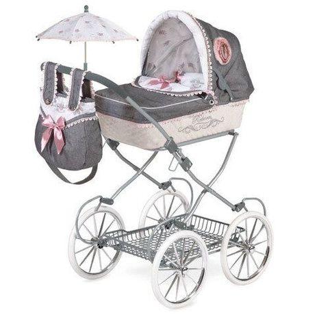 Шикарная Детская классическая коляска для кукол и пупсов с зонтиком,